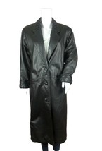 Women's Leather Long Trench Coat Vintage Western Petite XS Black Long Sl... - $71.41
