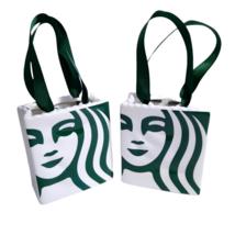 NEW 2 Starbucks Ceramic Shopping Bag Gift Card Holder Christmas Ornament... - $20.00