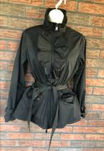 Ralph Lauren Jacket Petite Small Black Belted Ruffle Detail Full Zip Poc... - $19.60