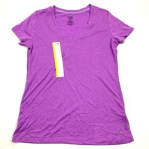 NEW Champion Dry Fit V-Neck Shirt Purple Missy Tee Fitness Athletic Leis... - $14.27