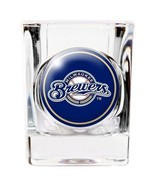 MILWAUKEE BREWERS 2 OZ. DOMED LOGO SQUARE SHOT GLASS MLB BASEBALL #1 - $10.36