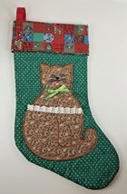Christmas Stocking Quilted Applique Cat Green Red Cuff - $37.59