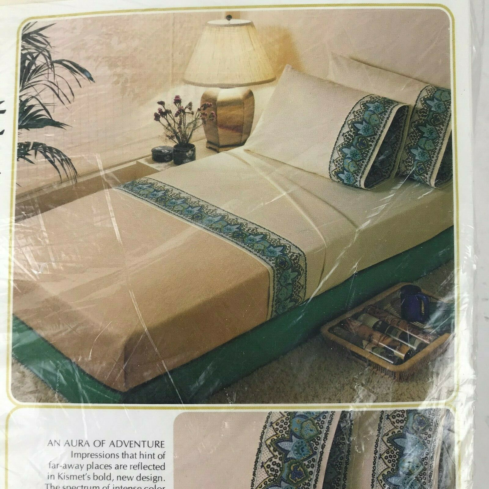 Primary image for Vintage 1970s Sears Roebuck Kismet Perma Prest Percal King Flat Sheet Groovy