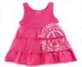 The Childrens Place Layered Tierd Ruffle Tank Tunic Top Peace Sign Pink 10 12 - $12.86
