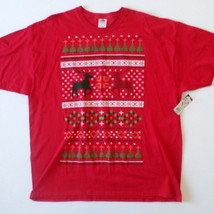 NEW Ugly Christmas Men's T-Shirt 2XL Red Reindeer Christmas Tree Fair Isle NWT - $5.95