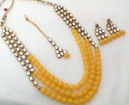 Indian Bollywood Yellow Gold Plated Kundan Fashion Bridal Jewelry Necklace Set 2 - $22.79
