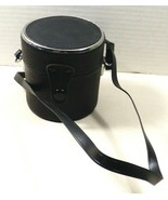 Vintage Black Leather Lens Case  green interior with strap Made In Japan - $19.80