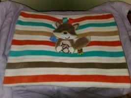 Cute Taggies Tan Orange Gray Striped Fox Acorn Tags Baby Blanket Lovey  - $33.29