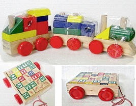Melissa & Doug Stacking Train & ABC 123 Block Set Toddlers Wood - $12.95