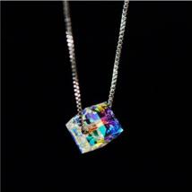 "Aurora Borealis Necklace Made with Swarovski Crystals 18"" with 1/2"" exte... - $10.44"
