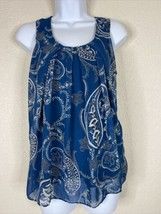 NY&C Womens Size M Blue Paisley Pattern Blouse Sleeveless - $14.85