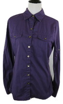 Converse One Star Women's Long Sleeve Shirt Size L Purple Roll Up Sleeves - $9.49