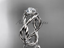 Infinity wedding ring, rope engageent ring, 14kt white gold twisted rope... - $775.00
