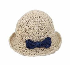 PANDA SUPERSTORE Fashionable Summer Straw Beach Bow Cream-Colored Girl Hat