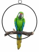 Colorful Hanging Scarlet Macaw Parrot on Branch in Metal Ring Figurine S... - $81.99