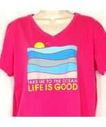 Life Is Good Crusher T-Shirt V-neck Women Size L Hot Pink Fuchsia Ocean ... - $16.82