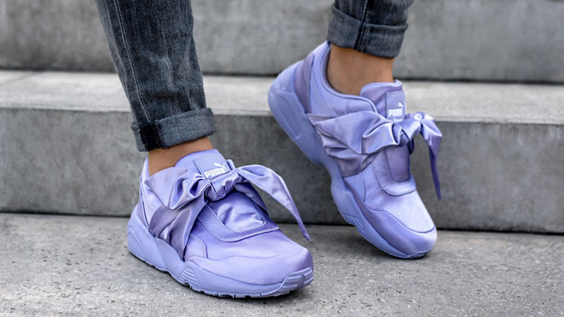 New PUMA RIHANNA Size 9 FENTY Purple Satin Bow Sneakers Shoes