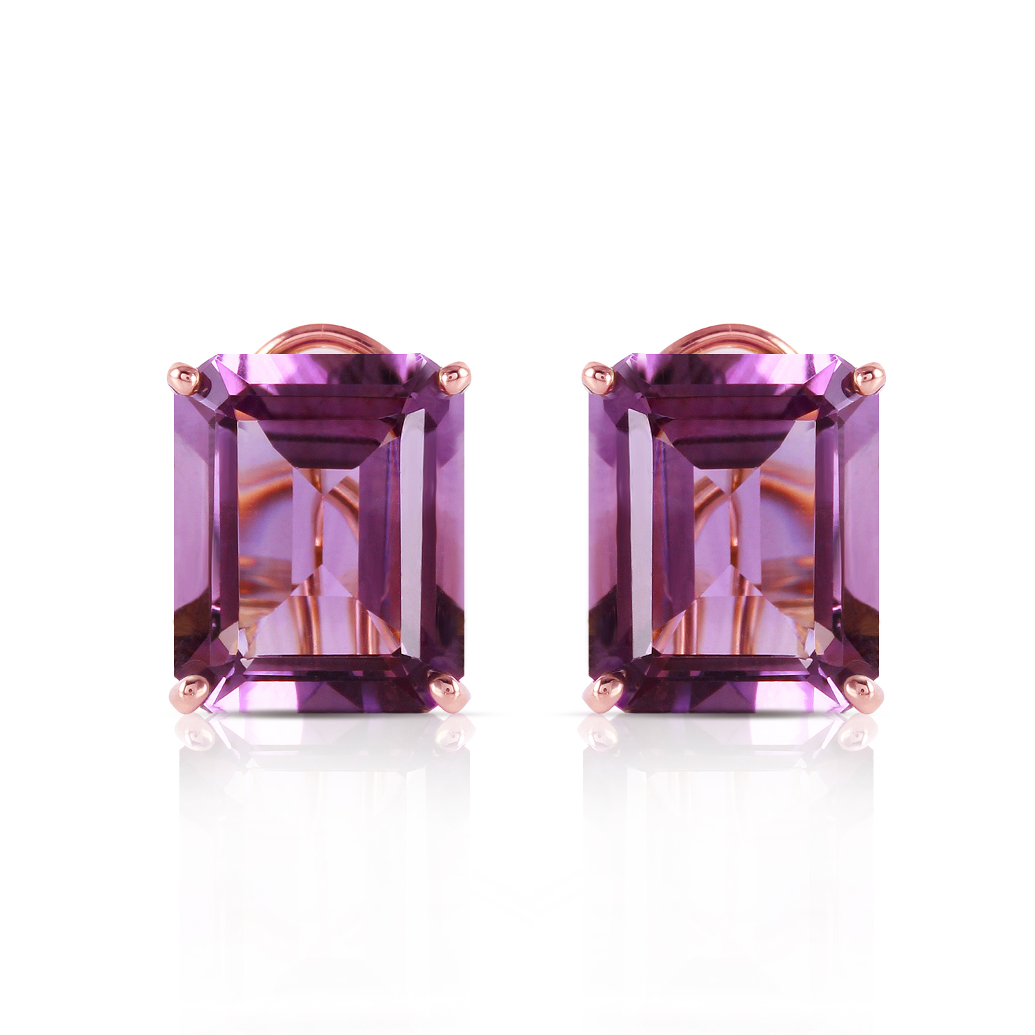 Primary image for 13 Carat 14K Solid Rose Gold Octagon Amethyst Earrings