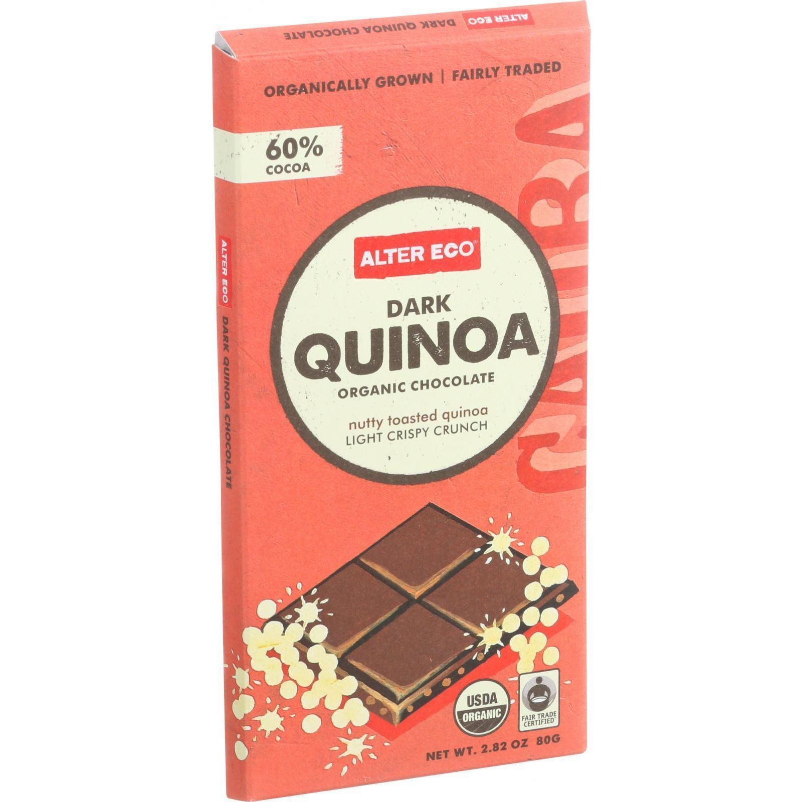Alter Eco Americas Organic Chocolate Bar - Dark Quinoa - 2.82 oz Bars - Case of