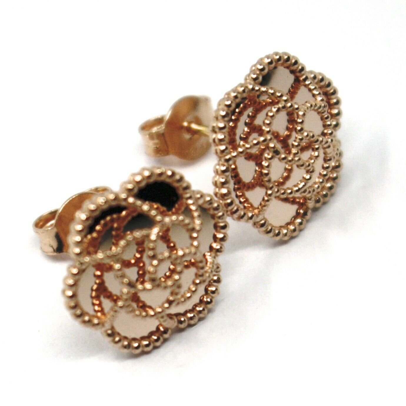 18K ROSE GOLD BOTTON FLOWER DAISY EARRINGS 14 MM, DOUBLE LAYER WORKED MIRROR