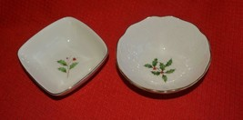 2 Lenox Ivory Holly Holiday Bowls w/ gold trim Candy Dish Dip Christmas - $11.59