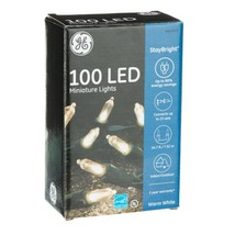 GE 847973 STAYBRIGHT 100CT WARM WHITE LED MINI LIGHTS 24.7' GREEN STRING... - $11.21