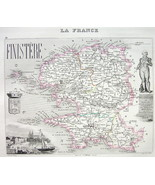 1851 COLOR MAP H/C - FRANCE Department Finistere View of Kemper - $12.15
