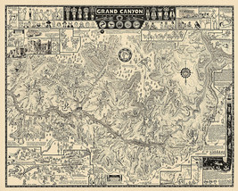 Grand Canyon Pictorial Wall Art Map Poster Historical Decor History Print - $12.38