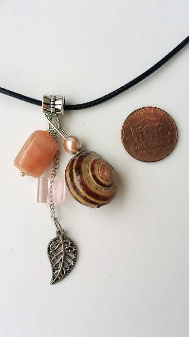 Fairy Dance necklace: pink beads & natural snail shell, beautiful