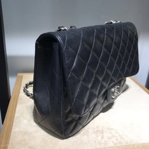 AUTHENTIC CHANEL BLACK CAVIAR QUILTED JUMBO CLASSIC FLAP BAG SILVER HARDWARE image 3