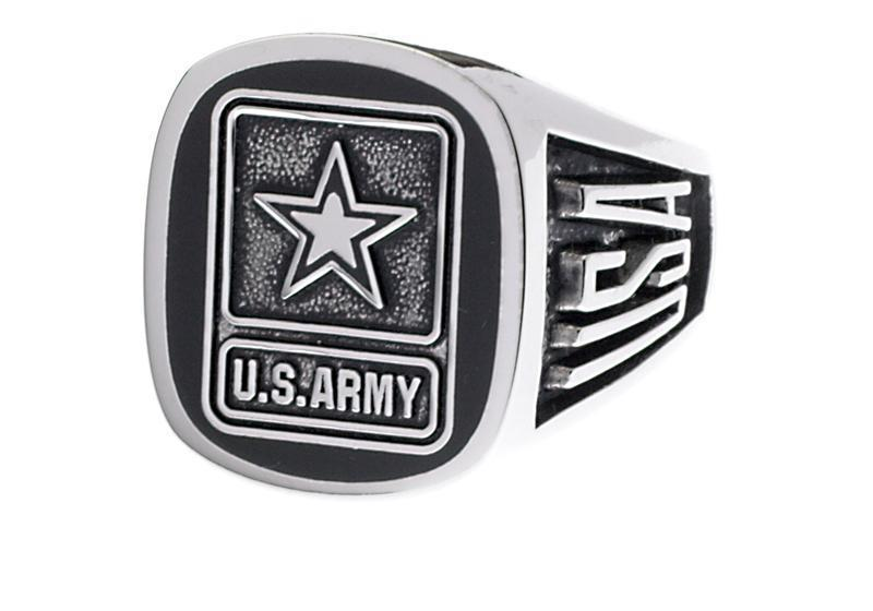 ARMY SILVER RHODIUM STAR LOGO RING SIZE 7 8 9 10 11 12 13 14 15 MADE IN USA