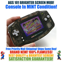 Nintendo Game Boy Advance GBA Clear Black System AGS 101 Brighter Backli... - $125.66