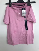 Chaps Boy's Big Short Sleeve Solid Polo With Stretch, Pink, Small - $14.50