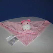 Carters Child of mine giraffe security blanket rattle Pink white polka dots - $9.89