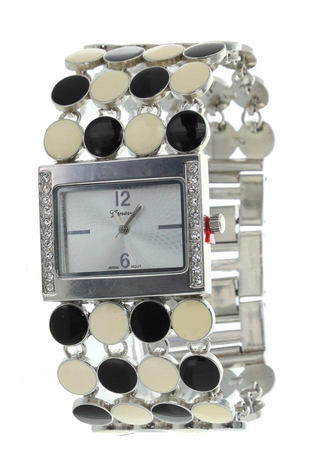 Ladies Geneva Quartz Wristwatch White Gold Finish With Round Enamel Circles Band