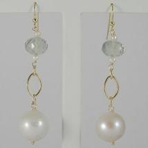 Yellow Gold Earrings 750 18K Hanging 6 cm, Prasiolite Cut Cushion & Pearl image 1