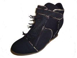 BE&D by Maison Dumain Fringe Curtains Black Wedge Ankle High Women Strap Shoe - $54.99