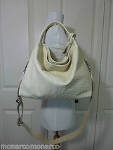 NWT Furla White Cotton Ostrich Embossed Leather S/M Elisabeth Tote Bag - $423.70