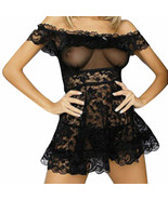 Womens Sexy Light Lace 2pc Lingerie Babydoll G-string Open Back XL Party... - $11.00