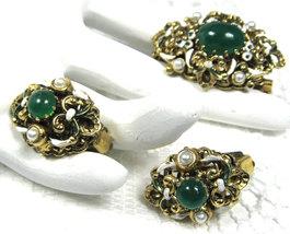 Pin And Earrings Fleur d Lis Enamel Green Glass Clips Filigree 1950s W Germany - $38.00