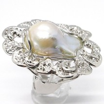925 SILVER RING, PEARL BAROQUE WITH FRAME, FLOWER, MADE IN ITALY image 2