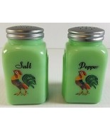 JADITE GREEN GLASS JADEITE ROMAN ARCH SALT & PEPPER SHAKERS CROWING ROOSTER - $29.66