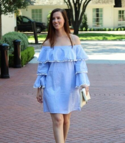 Forever 21 Blue & White Striped Tiered Ruffle Pom Pom Off The Shoulder Dress M image 5