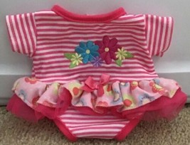 Cabbage Patch Kids Clothes Pink White Striped Dress W/Embroidered Flower... - $8.00
