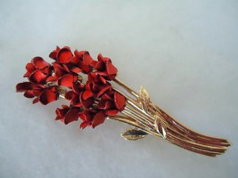 Vintage Goldtone Dozen Red Roses Pin Brooch - $10.00