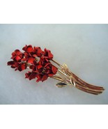 Vintage Goldtone Dozen Red Roses Pin Brooch - $10.00