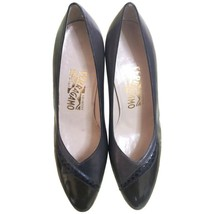 Vintage Salvatore Ferragamo charcoal grey and brown leather pumps with snakeskin - $172.00