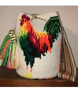 Authentic 100% Wayuu Mochila Colombian Bag Large Size Luxury Rooster Bright - £114.71 GBP