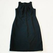 Talbots Wool Blend Black Sleeveless Pleated neck Sheath Dress Size 10 NWT! - $49.50