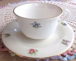 Vintage Staffordshire Cup Saucer White Mini Floral Flowers Bone China England - $16.00